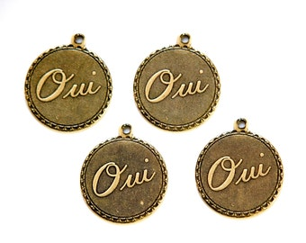 Brass Ox Oui Yes  Word Charm Drop with Loop (4) chr194CC
