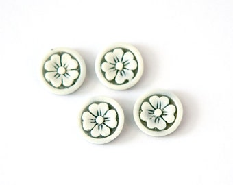Vintage Off White Etched Flower on Grey Acrylic Cabochons Japan 11mm (4) cab846A