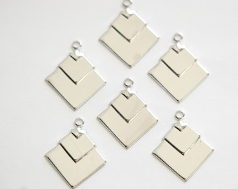 1 Loop Silver Plated Deco Layered Square Connector Pendants  (6) mtl407C