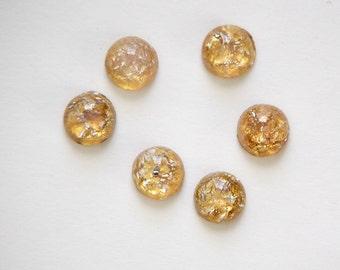 Vintage Golden Topaz Opal Glass Cabochons Japan 7mm (8) cab701AD