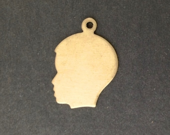 Solid Raw Brass Boy Silhouette Charm with Loop (6) chr211A