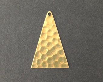 1 Hole Raw Brass Geometric Narrow Hammered Triangle Pendant Charm (6) mtl369G