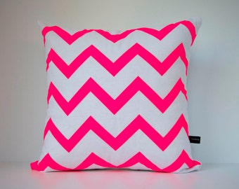 Chevron in Neon Pink on White - Hand Printed Cushion Cover - Linen Cotton - 40cm x 40cm