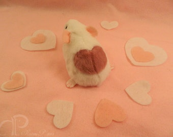 I -heart- Guinea Pigs Plushie - White with Pink Heart