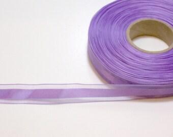 Purple Ribbon, Lavender Purple Satin Stripe Organza Ribbon 5/8 inch wide x 10 yards, SECOND QUALITY FLAWED