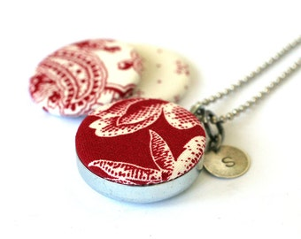 Red Locket Necklace - Mirror Locket - Fabric Locket - Christmas Necklace - Magnetic Necklace - Custom Initial - Upcycled Steel by Polarity