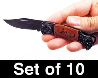 Wedding Gift, Groomsmen, Groom, Ring Bearer, Engraved Pocket Knives Set of 10, Small Honed Blade Lockback Pocket Knife Wood Handle, Wedding