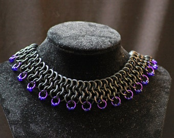 Black and Blue Beaded Chainmail Necklace