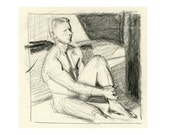 Original Drawing Nude Male Charcoal Figure Gesture Sketch - Seated Man