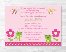 Cute Pink Frog Baby Shower Invitation / Frog Baby Shower Invite / Pink & Yellow / Baby Girl Shower / PRINTABLE