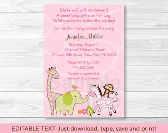 Pink Jungle Animal Baby Shower Invitation INSTANT DOWNLOAD Editable PDF A191