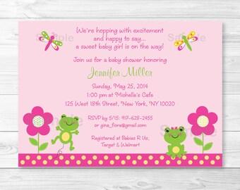 Girl Frog Baby Shower Invitation PRINTABLE