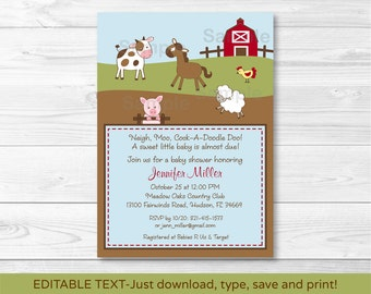 Farm Animal Baby Shower Invitation INSTANT DOWNLOAD Editable PDF