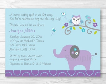 Elephant Owl Baby Shower Invitation PRINTABLE