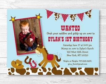 Cute Cowboy Birthday Invitation / Cowboy Birthday Invite / Pony Birthday Invite / 1st Birthday / 2nd Birthday / Any Age / PRINTABLE