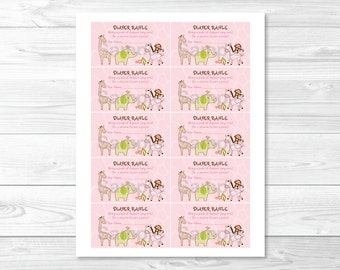 Girl Jungle Animal Diaper Raffle Tickets INSTANT DOWNLOAD