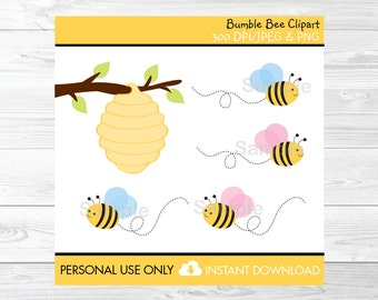 Bumble Bee Clipart Beehive Clip Art Pink & Blue Bumble Bee PERSONAL USE Instant Download