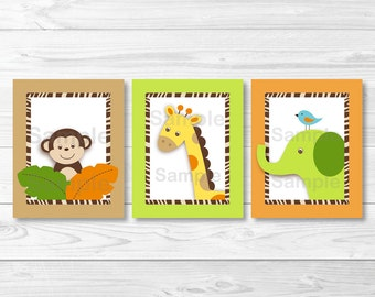 Wildlife Jungle Safari Animal Nursery Wall Art PRINTABLE Instant Download