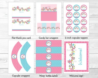 Pink Owl Baby Shower Party Package / Owl Baby Shower / Owl Baby Shower Decorations / Pink & Blue Owl / Baby Girl / INSTANT DOWNLOAD
