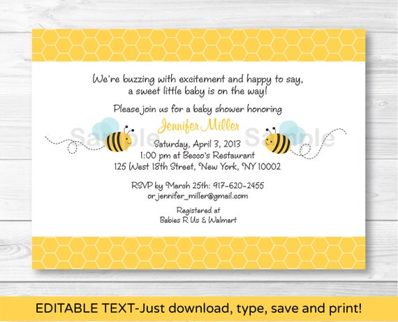 Sweet little bumble bee printable baby shower invitation editable personalizing and printing your own invitations has never been easier this listing is for a professionally designed editable df template stopboris Gallery