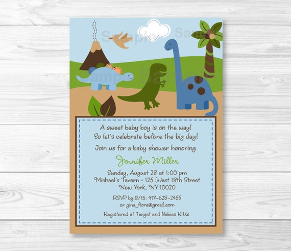 cute dinosaur baby shower invitation / dinosaur baby shower  etsy, Baby shower