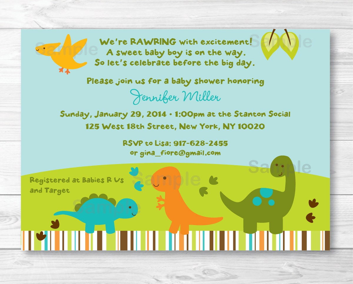 cute dinosaur baby shower invitation by littleprintsparties