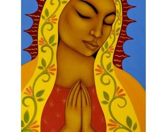 Virgen de Guadalupe Mexican Folk Art Print of Original Painting by Tamara Adams