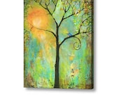 Oversized Extra Large Stretched Canvas Print Fine Art 30X40 Giclee Blue Birds Art Tree of Life Decor Couple