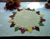 Autumn Flower N Leaf Crochet  Lace Thread Art Doily New Handmade