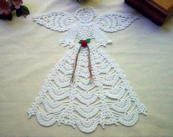 Rosebud Angel Doily New Crochet Lace Thread Art Doily