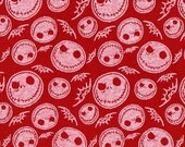 JACK SKELETON Red, Cotton Jersey Knit Fabric, By the FQ