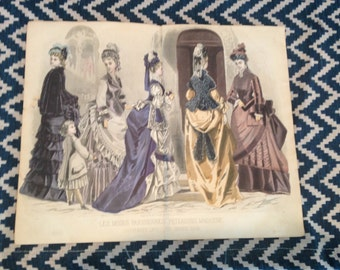 victorian french fashion print - Peterson's 1875 - The Church Door