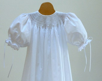 Hand Smocked Cotton Batiste Christening Gown with Swiss Cross Lace  NB,  3 - 6,   9 month sizes