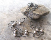 silver metalwork necklace, fine silver links necklace, rustic wearable art silver necklace, handmade necklace