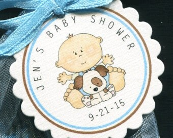 Personalized Baby Shower Favor Tags, baby boy with puppy, set of 25 round scallop tags