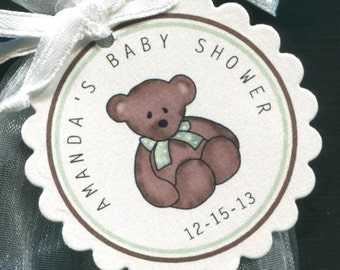 Personalized Baby Shower Favor Tags, teddy bear with green bow, set of 150 round scallop tags