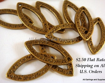 12 Bronze Hammered Drop Link Oval Antique Plated Alloy 25x12mm NF/LF - 12 pc - M7019-AB12