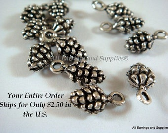 12 Antique Silver Charm Drop Pine Cone 13x7mm LF/NF - 12 pc - DC3018-AS12