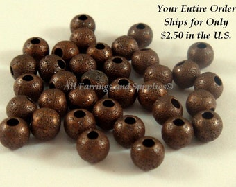 50 Antique Copper Stardust Beads 4mm Round Brass NF - 50 pc - M7055-AC50