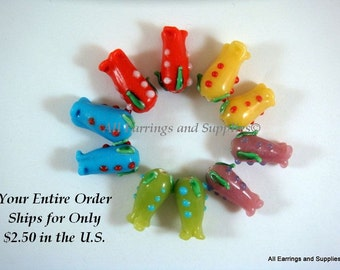 SALE - 10 Lampwork Glass Flower Beads 16x8mm - 10 pc - G6008-AS10-AG