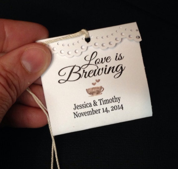 25 Love is Brewing FOLDED Personalized Wedding Favor tags TEA BAG not included Please Read Description