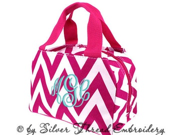 Personalized Lunch Bag Chevron Hot Pink Insulated Monogrammed School