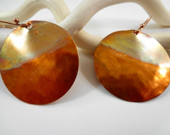 Hammered, Torched and Sealed Copper Earrings with Copper French Wires