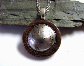 Coin Necklace, Eco Friendly Wood, Canada Caribou, 25 Cents, Wooden Jewelry by Hendywood