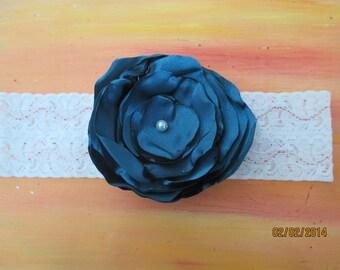 "Wedding Garter  2"" Stretch lace with handmade flower  Bridal Garter Pearl Center Jade"