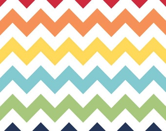Riley Blake Chevron Rainbow Flannel Fabric, 1 yard