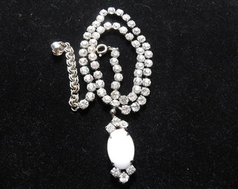Vintage Rhinestone Necklace With White Cabochon and Rhinestone Drop Prom necklace 1