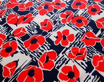 vintage 70s polyester knit, featuring wild red, white and blue floral design, 1 yard, 28 inches EXTRA WIDE