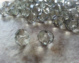 8mm Grey Czech Fire Polished Glass Beads