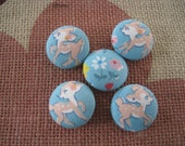 Fabric covered button - 7/8 inch sew on buttons - Beautiful Bambi - set of  5